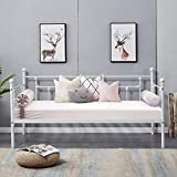 VECELO Daybed Frame Twin Size Multifunctional Metal Platform with Headboard Victorian Style,Mattress...