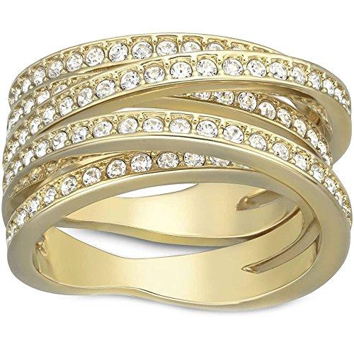 Swarovski 5032928 - Anillo con cruz en espiral chapado en oro
