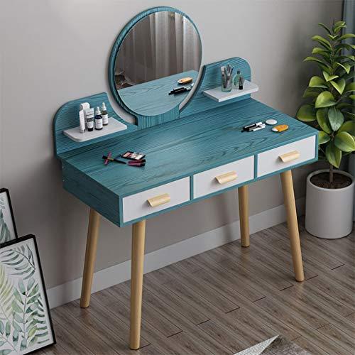 100CM brede bureaublad dressoir tafel, eenvoudige moderne dressoir tafels met ronde make-up spiegel student studietabel
