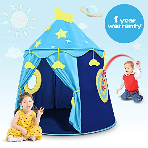 Peradix Castle Play Tent Toy, Kids Prince Pop Up Tent Playhouse Birthday Gift for Boys Girls Children Toddlers Indoor and Outdoor Games with carrying Case(Blue)