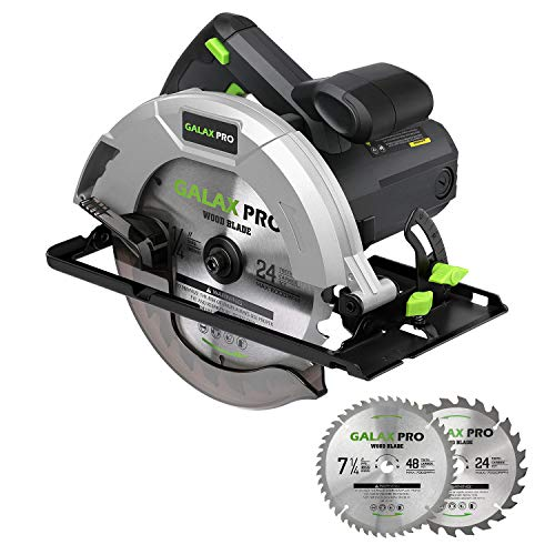 GALAX PRO 10 A 5800 RPM Hand-Held Circular Saw, Bevel Angle(0 to 45°) Joint Cuts with 7-1/4 Inch Blade, Adjustable Cutting Depth (1-5/8