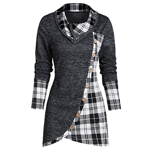 Blusa Mujer Talla Grande Fiesta Invierno Blusa Irregular para Mujer Sudadera Larga de Cuello Alto a Cuadros para Mujer Túnica Sudadera Pullover Jersey Tops