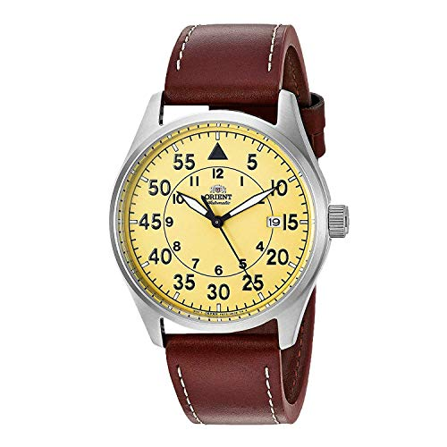 Orient Men's Stainless Steel Japanese Automatic Sport Watch with Leather Strap, Brown, 21 (Model: RA-AC0H04Y10A)