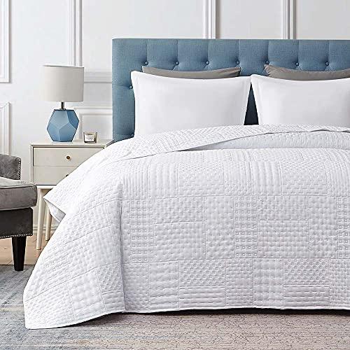 Hansleep Colcha 230x280 cm Manta Colcha Blanco Colcha de Microfibra para Dormitorio Manta Acolchada Super Suave y Cómoda Adecuado para la Cama-Galletas