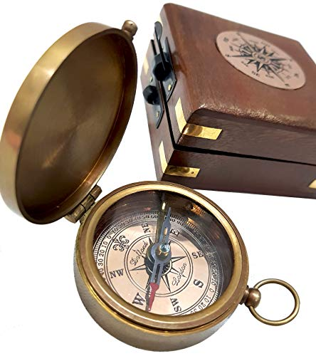 Antique Brass Compass Functional Direction Sailor Article Brown Wood Royal Box compasses