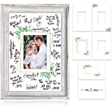 "A ONE OF A KIND WEDDING GUEST BOOK: The beautiful white 17x12"" wedding picture frame by Zicoto is the cherry on top of the pie for any rustic wedding decor! A wonderful wedding sign in guest book for guests to leave their names, loving words or bless..."