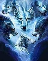 5Dダイヤモンドペインティング オオカミの戦い。アクリルクリスタル刺繍写真 40x50cm