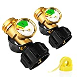 Propane Tank Gauge Level Indicator Leak Detector with Type 1 Connection (set of 2), Gauge for Propane Tanks 5lb-40lb Universal for BBQ Gas Grill, Cylinder, RV Camper, Heater and More Appliances