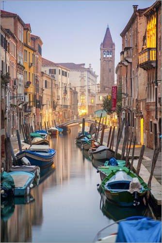 Posterlounge Acrylglasbild 60 x 90 cm: Romantische Stadtansicht von Venedig am Abend von Jan Christopher Becke - Wandbild, Acryl Glasbild, Druck auf Acryl Glas Bild