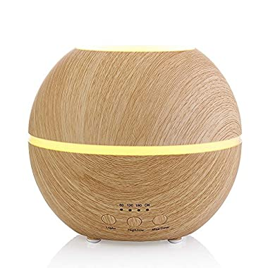 Aromatherapy Essential Oil Diffuser Ultrasonic Cool Mist Humidifier with Timer and Seven Color LED Waterless Auto Shut-off, 300ml Light Wood Grain by MIU COLOR.