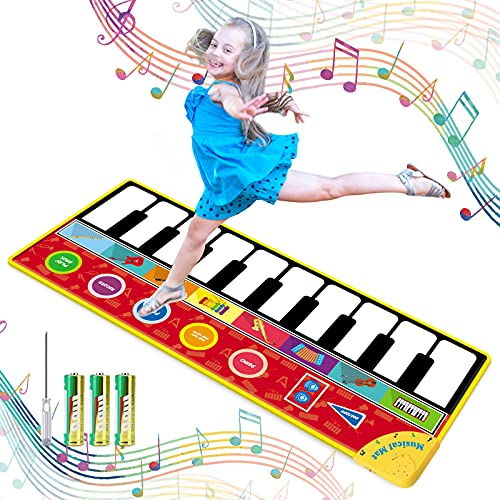 """Tencoz Kids Musical Mats, 10 Keys Piano Mat with 8 Selectable Musical Instruments, Floor Keyboard for Boys Girls, Kids Early Educational Toys (58.26"""" x 23.62"""")"""