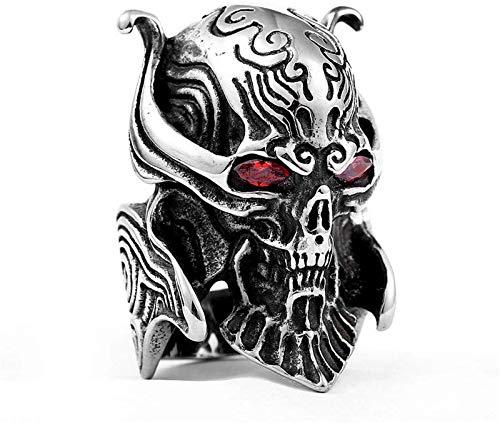 Feeyond Wolf Head Titanium Steel Ring, Viking Men's Skull Red Eye Version of The Wolf Teeth Magic Guide Wheel Index Finger Ring,8