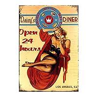 Daisy's Diner Open 24h 金属板ブリキ看板警告サイン注意サイン表示パネル情報サイン金属安全サイン