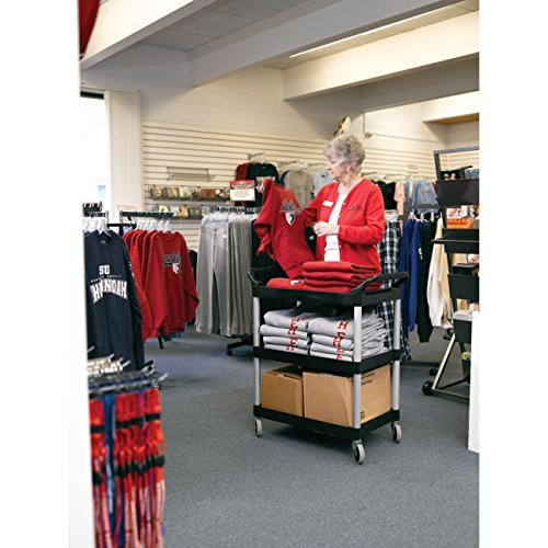Rubbermaid Commercial Products Heavy Duty 3-Shelf Rolling Service/Utility/Push Cart, 200 lbs. Capacity, Black, for Foodservice/Restaurant/Cleaning/Workplace