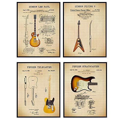 Famous Guitars Patent Print Set - Vintage Gibson, Fender, Les Paul, Stratocaster, Telecaster, Flying V - Gift for Musician, Guitar Player - Wall Art Poster Set, Home Decor for Bedroom, Living Room