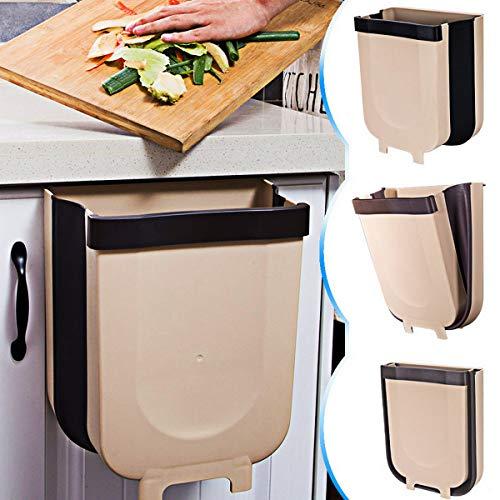 TTMOW Mülleimer Küche Faltbare, Neue Generation 9L Abfalleimer Küche Für Schranktür (Brown)