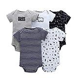 Paquete de 5 Bebé Niños Manga Corta Body Mameluco Algodón Chaleco Conjuntos 3-6 Meses