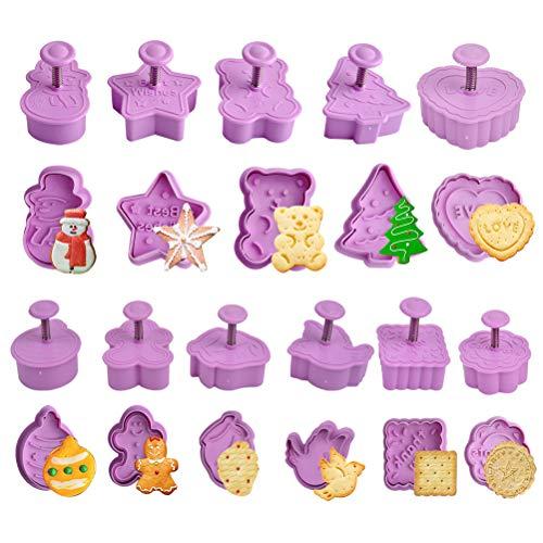 Uitsteekvormpjes voor Kerstmis, 12 stuks, fondant, koekjesvormpjes, cookie cutters koekjesvormen met uitwerper en voor kinderen, keuken, koekjes, kerstboom, taartdecoratie, bakken en koekaccessoires