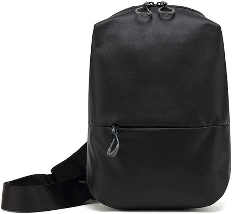 Shoulder Bag, Retro Men's Chest Bag Messenger Bag Sling Bag Unbalance Bag Outdoor Sports Waterproof Backpack Suitable for Riding, Walking,Black,20x9x31CM