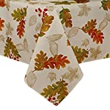 Elrene Home Fashions Swaying Leaves Allover Print Fall Tablecloth, 60' x 84', Ivory