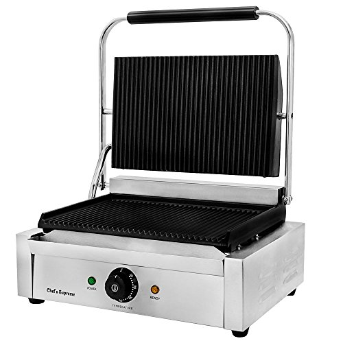 """Chef's Supreme - Commercial Panini Grill w/ 14"""" x 9"""" Grooved Plates, Each"""