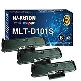 3-Pack HI-Vision Compatible Samsung MLT-D101S Toner Cartridge MLTD101S 101S Replacement for SCX-3405F SCX-3405W/FW ML-2165W ML-2160 ML-2161 ML-2166w SCX-3400F SCX-3400FW SF-760P Printer (Black)