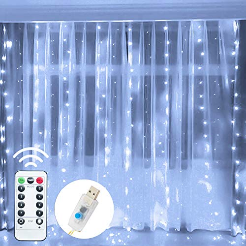 FUNPENY Window Curtain String Lights, 300 LED 8 Lighting Modes Fairy Lights USB Powered, Waterproof Lights for Christmas Bedroom Party Wedding Home Garden Wall Decorations (White)