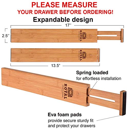 ROYAL CRAFT WOOD Adjustable Bamboo Drawer Dividers Organizers - Expandable Drawer Organization Separators for Kitchen, Dresser, Bedroom, Bathroom and Office, 4-Pack (13.5-17 in, Natural) (Natural)