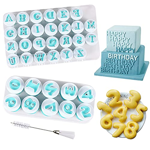 Alphabet Letter Numbers Cake Mold Set, BENBO 36 Pieces Fondant Cake Sugar Craft...