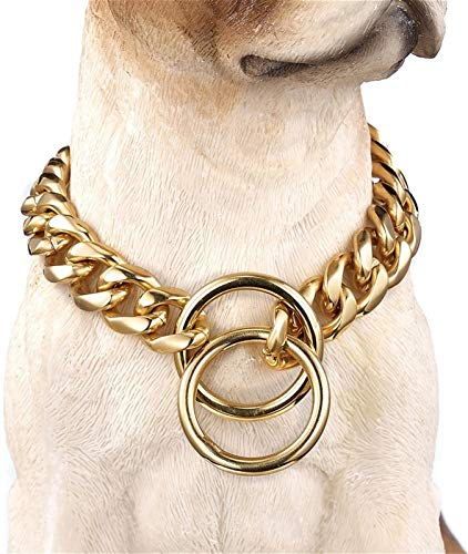 DHGTEP Dog Collar Necklace 13-19MM Strong Stainless Steel Metal Chain Cuban Link Chain Dog Chew Proof Training Collar for Small Medium Large Dogs (Color : Gold 17mm, Size : 50cm)