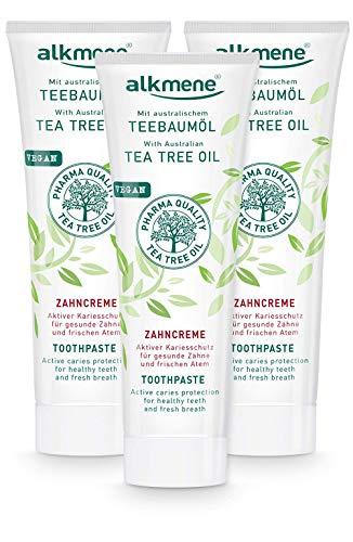 alkmene Teebaumöl Zahnpasta für empfindliche Zähne - vegane Zahncreme ohne Silikone, Parabene & Mineralöl - Natürliche Toothpaste mit Fluorid & australischem Teebaumöl im 3er Pack (3x 100 ml)
