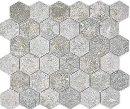 Mosaikfliese Keramik Hexagon Sechseck Granit grau Duschwand Küchenfliese Duschtasse Küchenrückwand Küche Wandfliese WC_f | 10 Mosaikmatten
