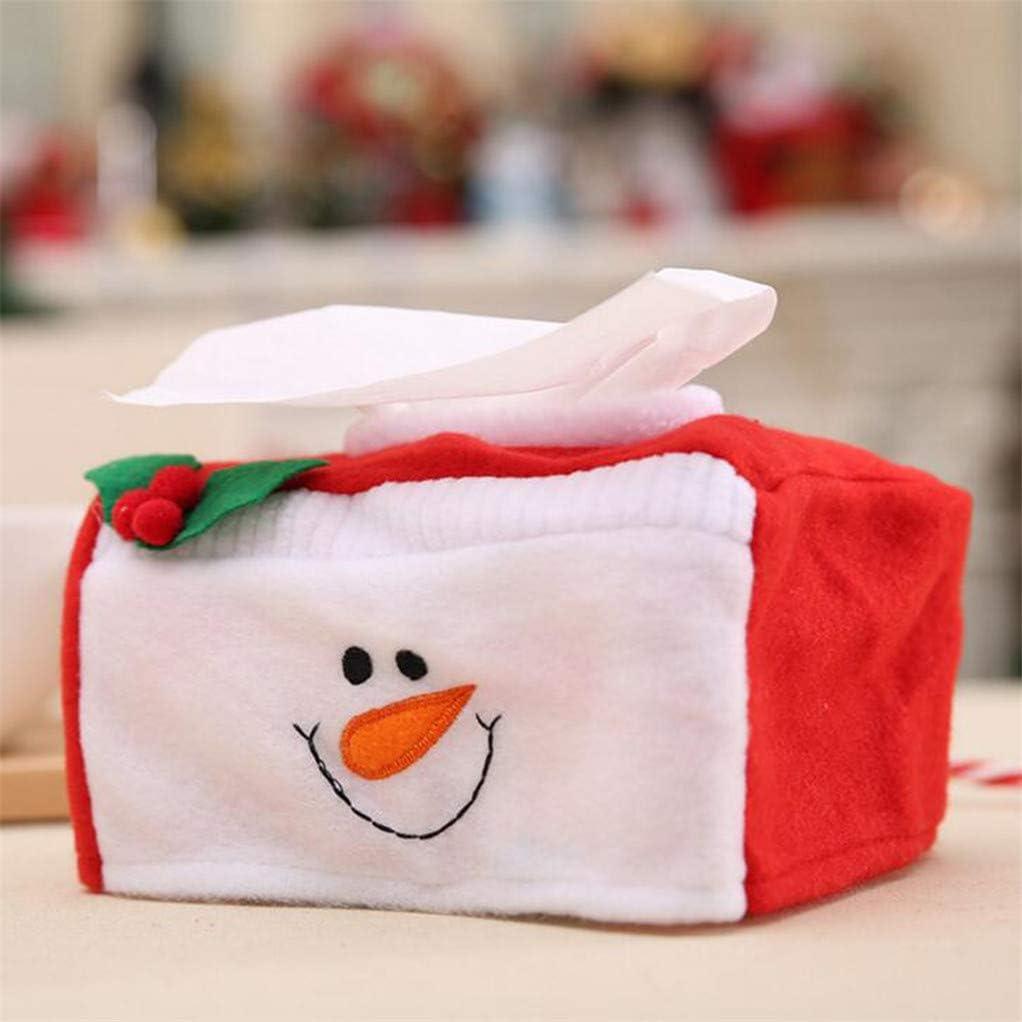 Santa Garispace Christmas Napkin Box Holders Dinner Table Decorations Soft Flannel Serviette Holder Xmas Tissue Paper Cover Storage Box Small