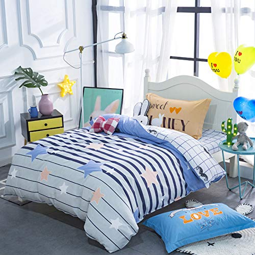 QXbecky Three-Piece Cotton Bedding Set, Environmentally Friendly Cotton Quilt Cover, Bed Sheet, Pillowcase, Three-Piece Dormitory Set, Student 1.2m Bed
