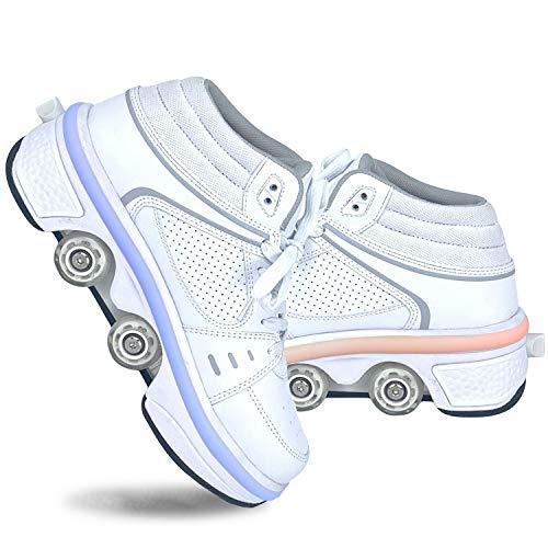 LDTXH Zapatos con Ruedas Zapatos Skate para Mujeres, Unisex Automática De Skate Zapatillas, Hombres, niños Zapatos con Ruedas para niños Zapatillas con Ruedas, para Principiantes,39