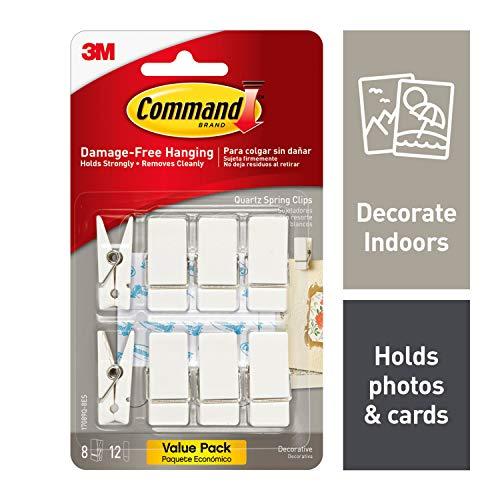 Command Spring Clips, Quartz, 8-Clips (17089Q-8ES), Great for dorm decor