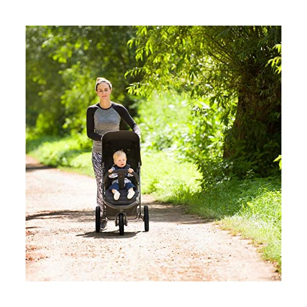 Hauck Rapid 3 Wheel Pushchair up to 25 kg with Lying Position from Birth, Small Foldable with One Hand, Height Adjustable Push Handle, Large Basket - Black Hauck LONG USE: The pushchair is suitable from birth (in lying position or in combination with the separate 2-in-1 Carrycot) and loadable up to 25 kg (seat unit 22 kg + basket 3 kg) EASY TO FOLD: This stroller folds away compactly and can be then carried with one hand only by the release loop COMFORTABLE: For the kid thanks to backrest and footrest adjustable into flat position, as well as for parents thanks to height-adjustable handle and large shopping basket 3
