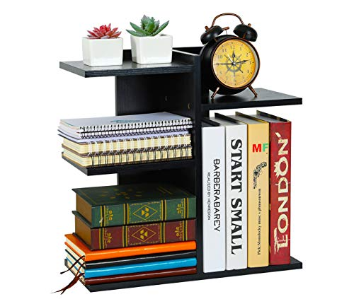 PAG Wood Desktop Shelf Small Bookshelf Assembled Countertop Bookcase Literature Holder Accessories Display Rack Office Supplies Desk Organizer, Black