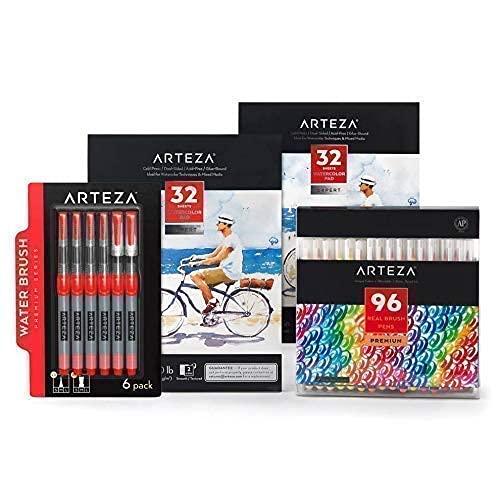 Arteza Brush Pen Artist Bundle, Drawing Art Supplies for Artist, Hobby Painters & Beginners