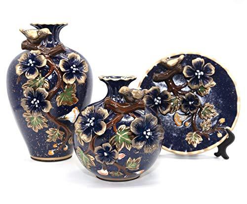 NEWQZ Classical Decorative Ceramic Vase Set of 3 Chinese Vases for Home Decor (darkblue)