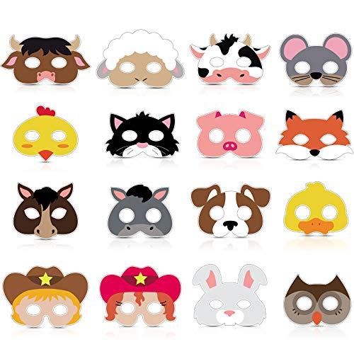 16 Piece Farm Forest Animal Felt Mask Barnyard Animal Face for Petting...