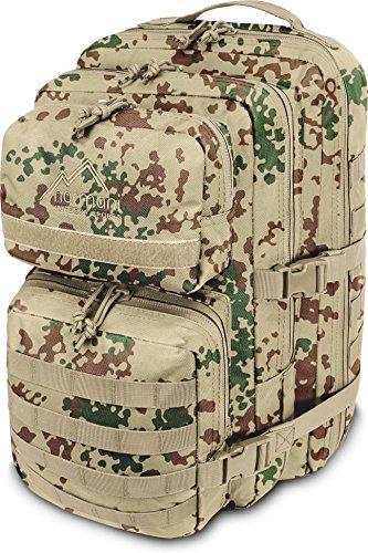 normani Military Schulrucksack, 2 große Fächer für Ordner, Bücher und Laptop Farbe Tropentarn