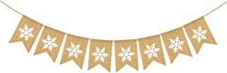 Rainlemon Jute Burlap Snowflake Banner Winter Bacheloratte Wedding Shower Baby Shower Baby Birthday Garland Mantel Fireplace Decoration