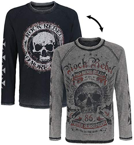 Rock Rebel by EMP Lucky Twice Homme T-Shirt Manches Longues Gris S, 100% Coton, Regular/Coupe Standard