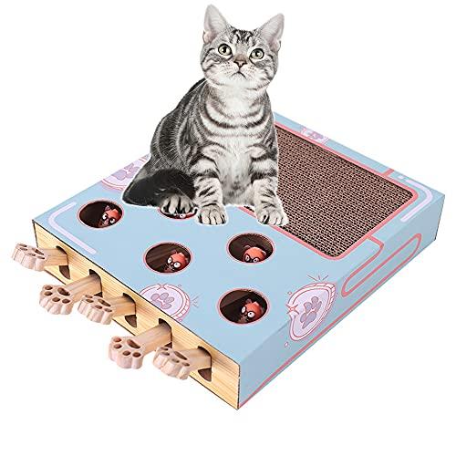 KMKJ Rascador de cartón para gatos con juego de topos y divertidos juguetes de felpa, cartón superior y construcción multifunción para gatos