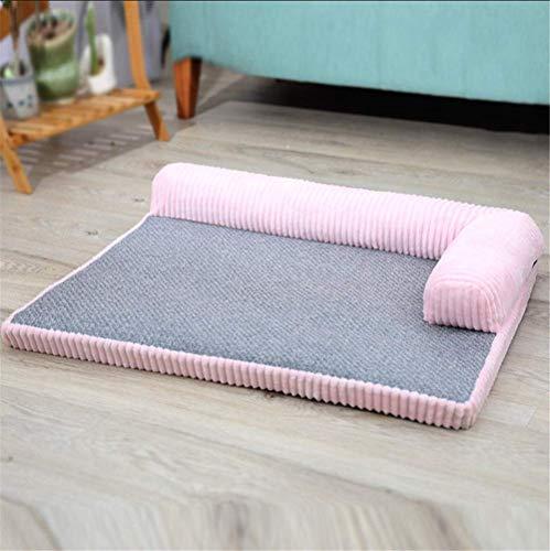 ZMXZMQ Hundebett, Deluxe L-Förmiges Chaiselongue-Haustierbett Mit Abnehmbarem Waschbarem Bezug Für Hunde Und Katzen,Pink,S