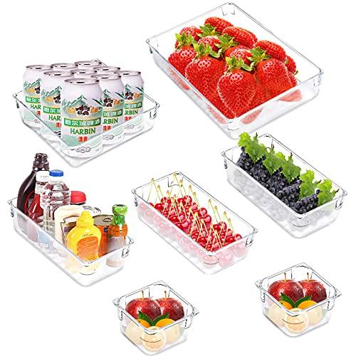 7 Stück Rutschfestes Schubladen Ordnungssystem,Kühlschrank Tidy Container Boxen,Durchsichtig Schubladeneinsatz,durchsichtigem Kunststoff Divider,Schubladen Ordnungssystem