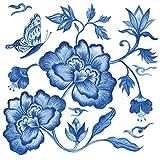Home Collection Casa Cucina Decorazione Accessori Set 40 Tovaglioli Monouso Carta 3 veli 33 x 33 cm Motivo Peonie Blu