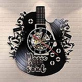 Music Is The Voice In The Soul - Reloj de pared con cita musical para guitarra, grabación de vinilo y meditaciones, reloj decorativo