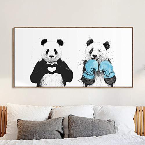 Frameloze olieverfschilderij canvas print cartoon dier NGS panda stansen voor woonkamer wand Ng poster afdruk kunst decoratief